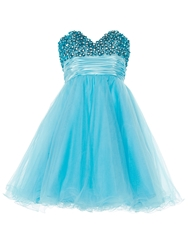 Anoushka G Ella Luxurious Tulle Prom Dress Blue
