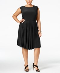 Love Squared Plus Size Pleated Fit And Flare Dress Black
