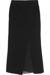 Donna Karan Silk Organza Paneled Slub Stretch Jersey Midi Skirt