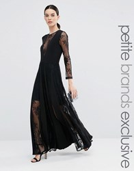 True Decadence Petite Lace Pleated Maxi Dress Black