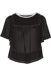 Isabel Marant Pilar Embellished Cotton Top Black