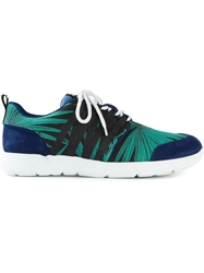 Msgm Palm Tree Print Sneakers Blue