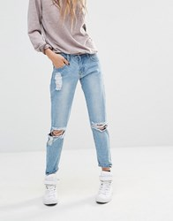 Liquor And Poker Boyfriend Jeans With Distressing Mid Wash Blue