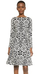Lela Rose Long Sleeve Seamed Dress Black Ivory