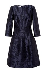 Oscar De La Renta Navy Floral Embroidered Dress Blue