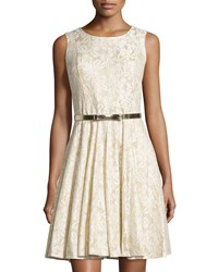 Chetta B Glitter Lace Fit And Flare Dress Ivory Gold