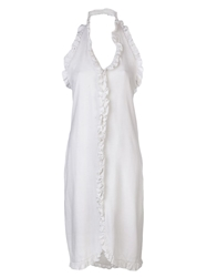 Bill Blass Vintage 1980S Tonal Ruffled Sundress White