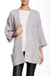 Romeo And Juliet Couture Kimono Sleeve Cable Knit Cardigan Gray
