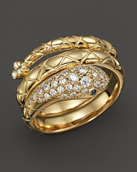 Temple St. Clair 18K Gold Double Serpent Ring With Blue Sapphire And Diamond Pave Gold Blue