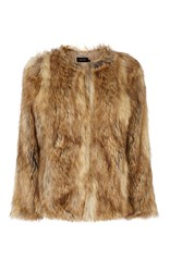 Karen Millen Statement Fur Jacket Camel