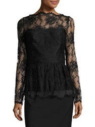 Oscar De La Renta Long Sleeve Lace Peplum Blouse Black
