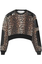 Givenchy Cropped Leather Paneled Leopard Print Wool Sweater Leopard Print