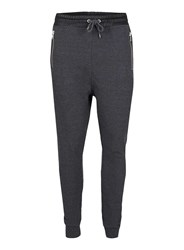 Topman Grey And Contrast Faux Leather Joggers