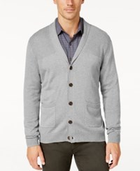 Tasso Elba Men's Big And Tall Faux Suede Shawl Collar Cardigan Only At Macy's Light Grey