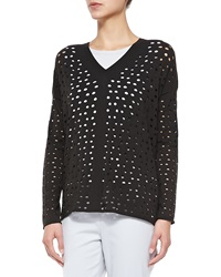 Lafayette 148 New York V Neck Eyelet Sweater Ash