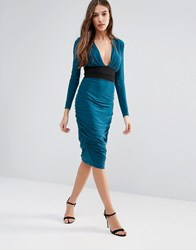 Hedonia Long Sleeve Pencil Dress With Contrast Waist Band Teal Green