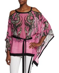 Roberto Cavalli Cold Shoulder Feather Print Tunic Top Black Pink