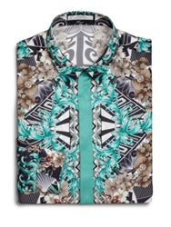 Versace Splatter Print Silk Dress Shirt Teal Teal Multi