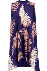 Vionnet Printed Pliss And Eacute Silk Blend And Silk Blend Jersey Tunic Royal Blue