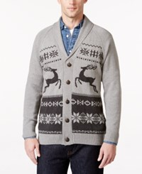 Weatherproof Vintage Men's Big And Tall Fair Isle Cardigan Only At Macy's Grey