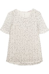 See By Chloe Pleated Printed Swiss Dot Chiffon Top White