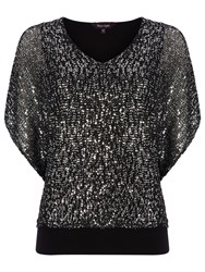 Phase Eight Antnlla Sequin Top Black Silver