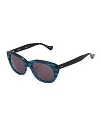 Dita Savoy Cat Eye Plastic Sunglasses Dark Blue Swirl