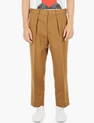 Marni Khaki Loose Fit Wool Trousers