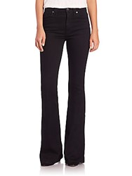 7 For All Mankind Solid High Rise Flared Jeans Overdyed Black