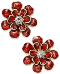 Charter Club Erwin Pearl Atelier For Gold Tone Red Enamel Flower Earrings Only At Macy's