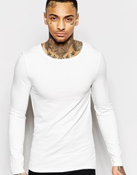 Asos Muscle Long Sleeve T Shirt With Boat Neck In Off White White