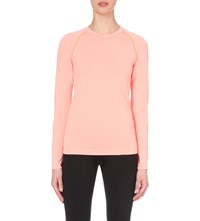 Sweaty Betty Hypo Glisten Stretch Knit Top Passion Coral