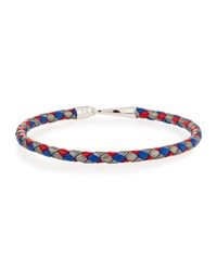 Mateo Sterling And Woven Leather Rope Hook Bracelet Blue Red Silver