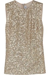 Kaufman Franco Embellished Sheer Back Silk Organza Top Metallic