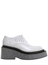 Maison Martin Margiela Waxed Leather And Wool Felt Wedges