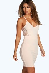 Boohoo Lace Back Cut Out Bodycon Dress Blush