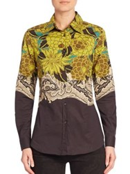 Etro Floral Stretch Cotton Shirt Brown Yellow Multi