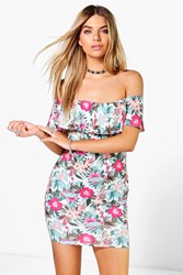 Boohoo Floral Off Shoulder Ruffle Bodycon Dress Multi
