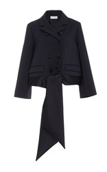 Dice Kayek Double Breasted Cropped Tie Jacket Navy