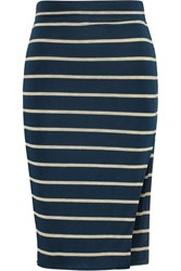 Lna Striped Modal Blend Skirt Blue