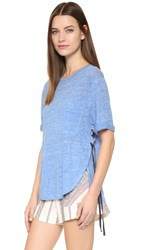 Derek Lam Linen Pocket Tee Denim Melange