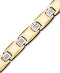 Macy's Men's Gold Tone Stainless Steel Bracelet Diamond Square Link 1 4 Ct. T.W.