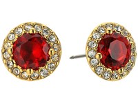 Lauren Ralph Lauren Treasure Trove Small Stone Stud Earrings Red Crystal Gold Earring