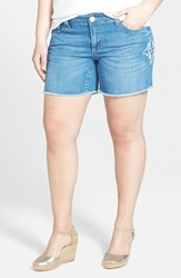 7 For All Mankind Plus Size Women's Seven7 Embroidered Side Stretch Denim Shorts Select Blue