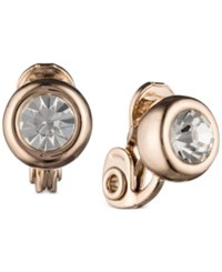 Anne Klein Rose Gold Tone Crystal Stud Clip On Earrings