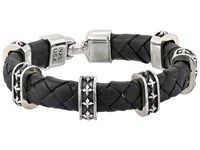 King Baby Studio Small Braided Leather Bracelet W Mb Cross Stations And Square Hook Clasp Black Bracelet