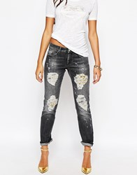 Versace Jeans Boyfriend Jean With Baroque Print Rip And Repair Black