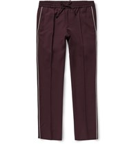 Valentino Slim Fit Wool And Mohair Blend Trousers Burgundy