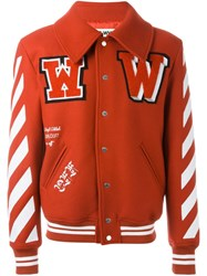 Off White Varsity Jacket Red