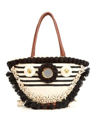Figue Bardot Tuk Tuk Embroidered Tote Navy Stripe